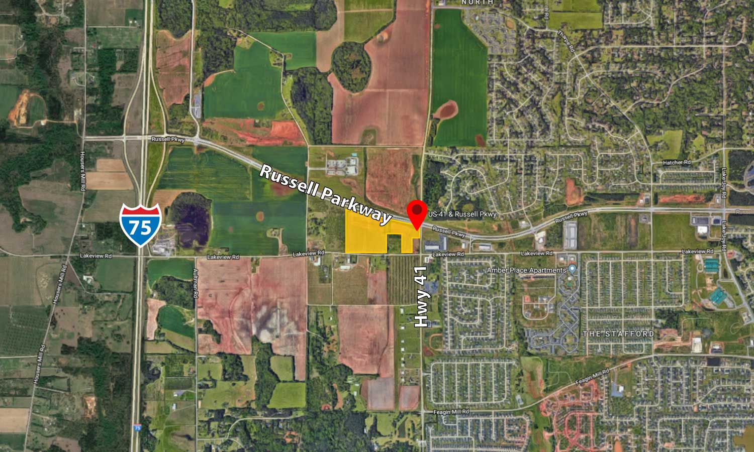 Hwy 41 Map Land for Sale: Russell Pkwy at US 41, Warner Robins – Thornton